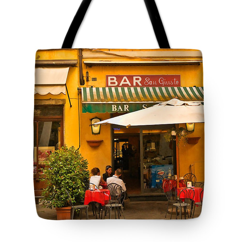 Lucca Tote Bag featuring the digital art Bar San Giusto by Mick Burkey