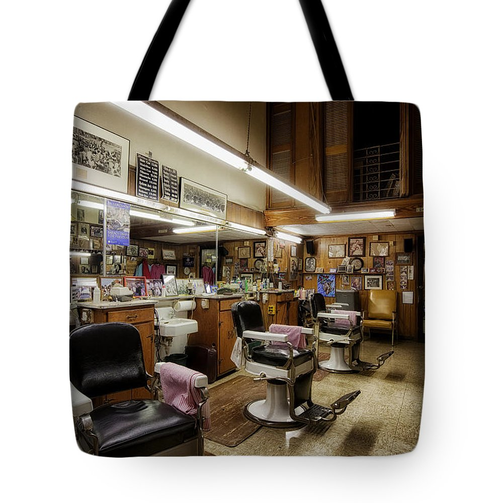 Barber Shop Tote Bag featuring the photograph Barber Shop In Montgomery Alabama by Mountain Dreams