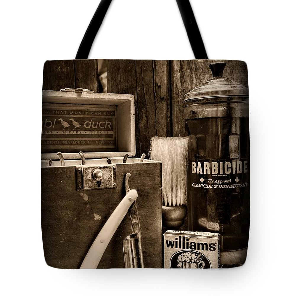 Paul Ward Tote Bag featuring the photograph Barber - Vintage Barber Tools - Black And White by Paul Ward