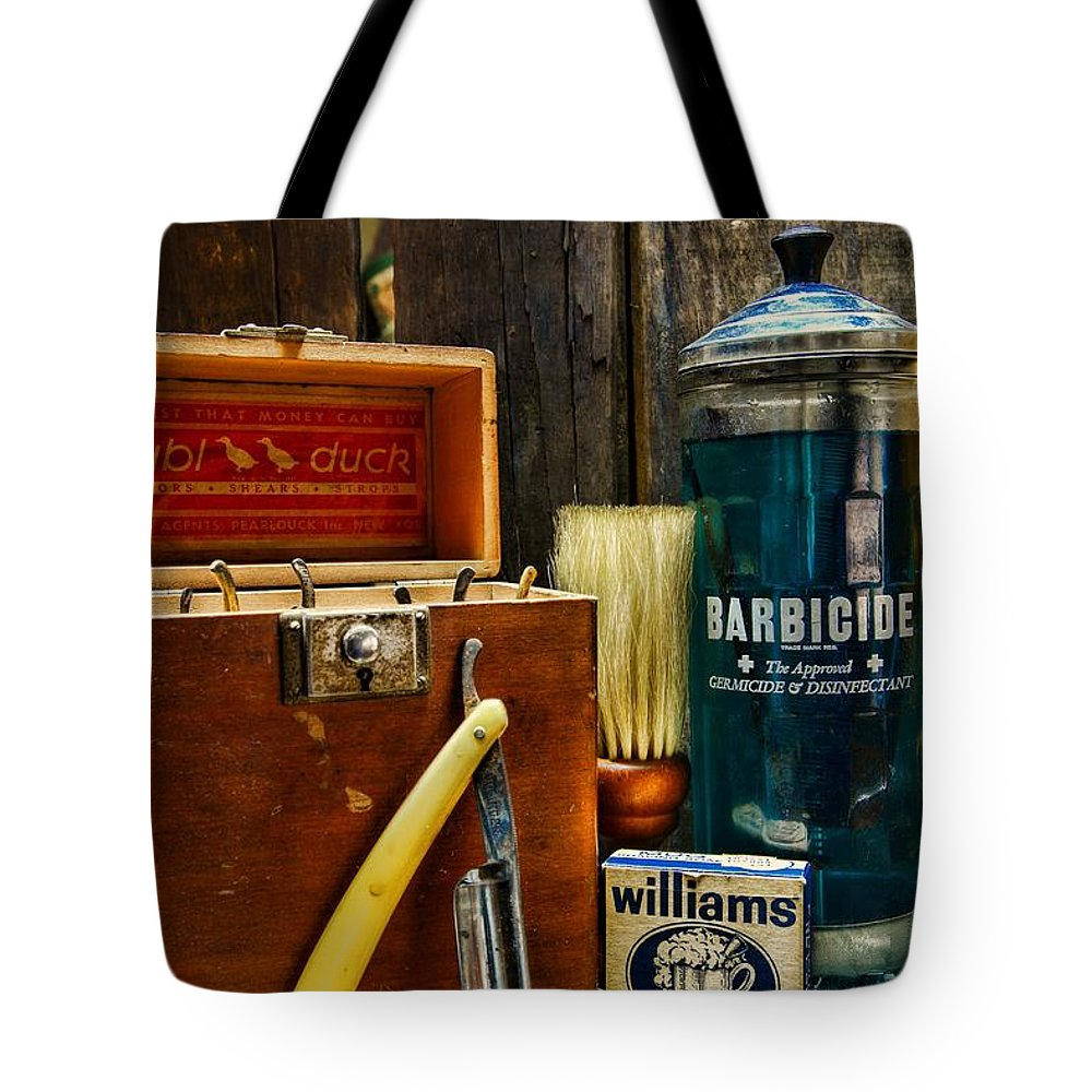 Paul Ward Tote Bag featuring the photograph Barber - Vintage Barber Tools by Paul Ward