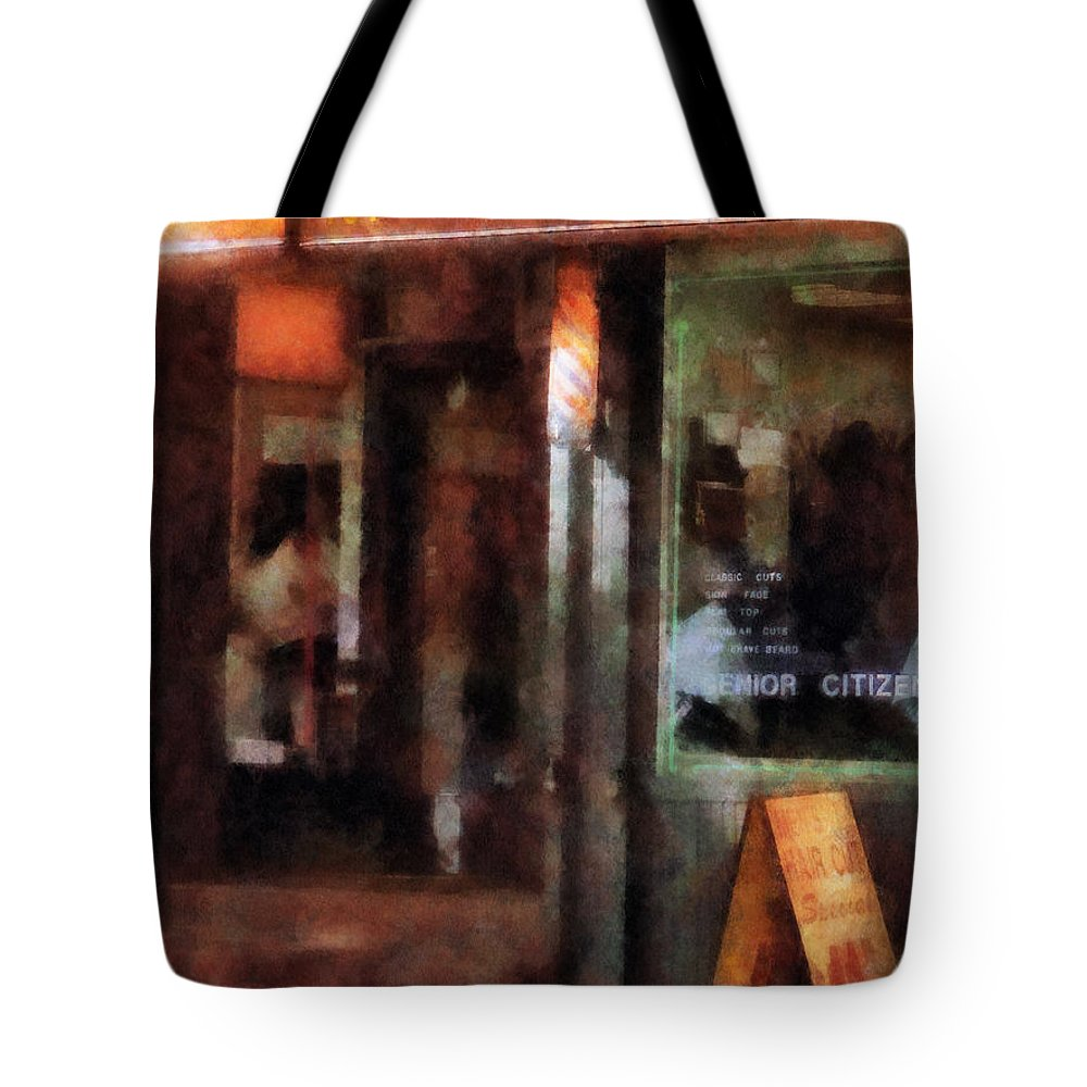 Barber Tote Bag featuring the photograph Barber - West Village Barber Shop by Susan Savad