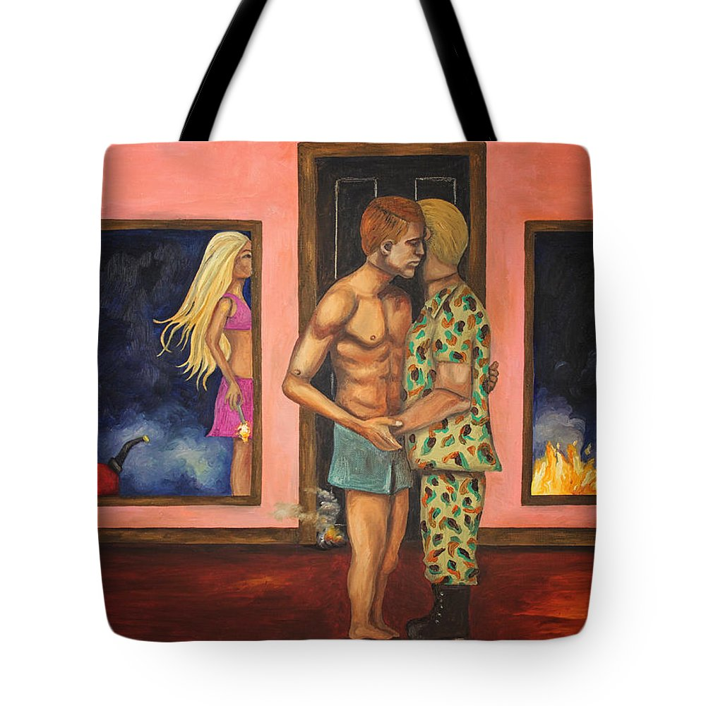 Barbie Tote Bag featuring the painting Barbies Revenge Edit 3 by Leah Saulnier The Painting Maniac