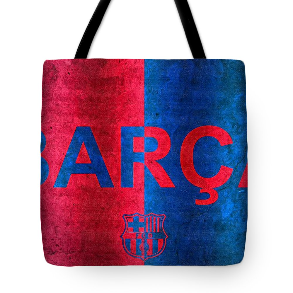 Barcelona Tote Bag featuring the painting Barcelona Football Club Poster by Florian Rodarte