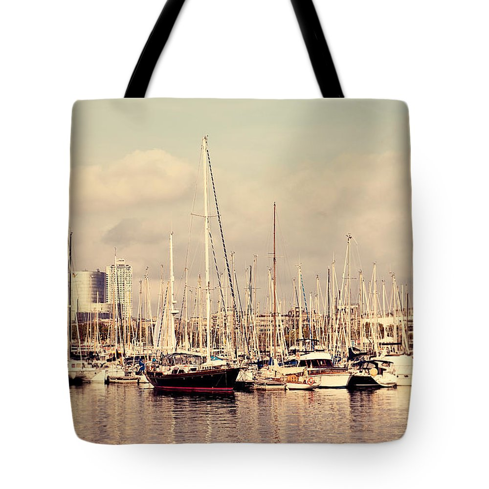 Yachts Tote Bag featuring the photograph Barcelona Harbor - Vertical by Erin Johnson