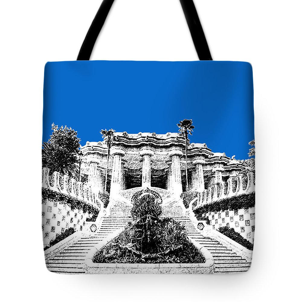 Architecture Tote Bag featuring the digital art Barcelona Skyline Park Guell - Blue by DB Artist