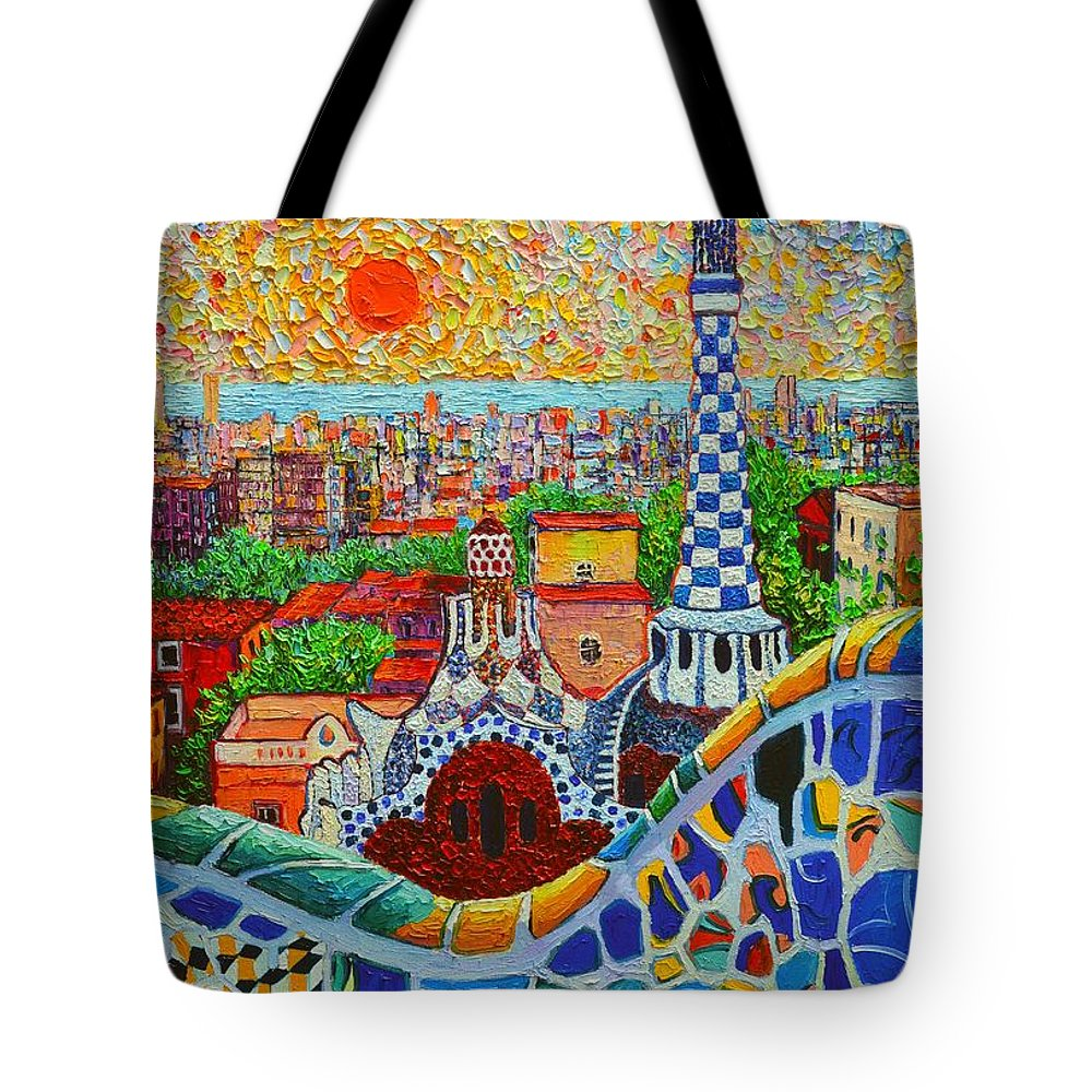 Barcelona Tote Bag featuring the painting Barcelona Sunrise - Guell Park - Gaudi Tower by Ana Maria Edulescu