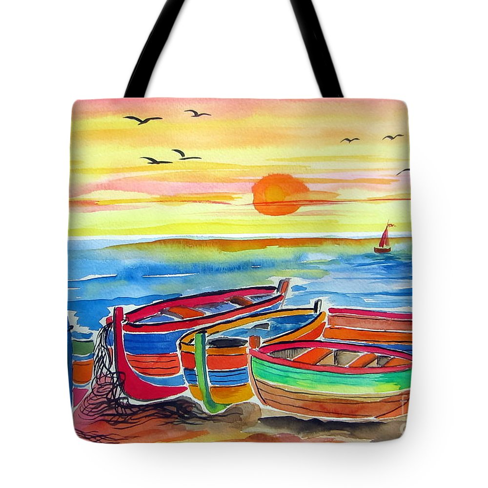 Barche Tote Bag featuring the painting Barche Dei Pescatori by Roberto Gagliardi