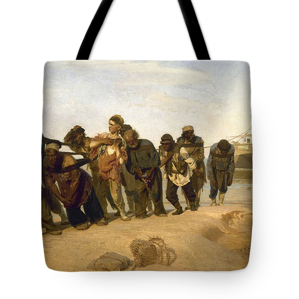 Barge Haulers On The Volga Tote Bag featuring the digital art Barge Haulers On The Volga by Burlaki