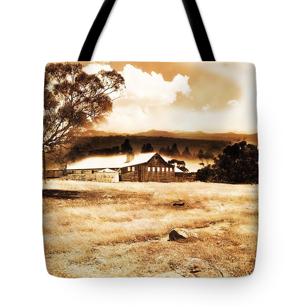 Hdr Tote Bag featuring the photograph Barn And Field by Phill Petrovic