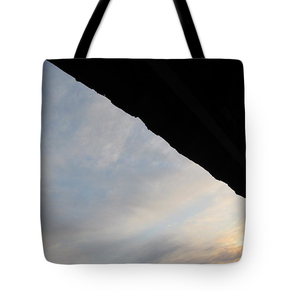 Sun Tote Bag featuring the photograph Barn Awning And Sunrise by Tina M Wenger