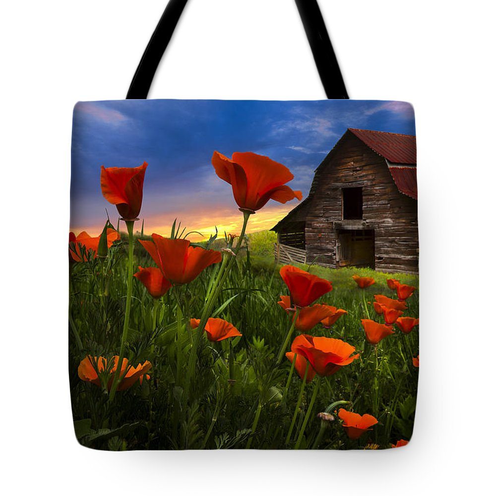 American Tote Bag featuring the photograph Barn In Poppies by Debra and Dave Vanderlaan