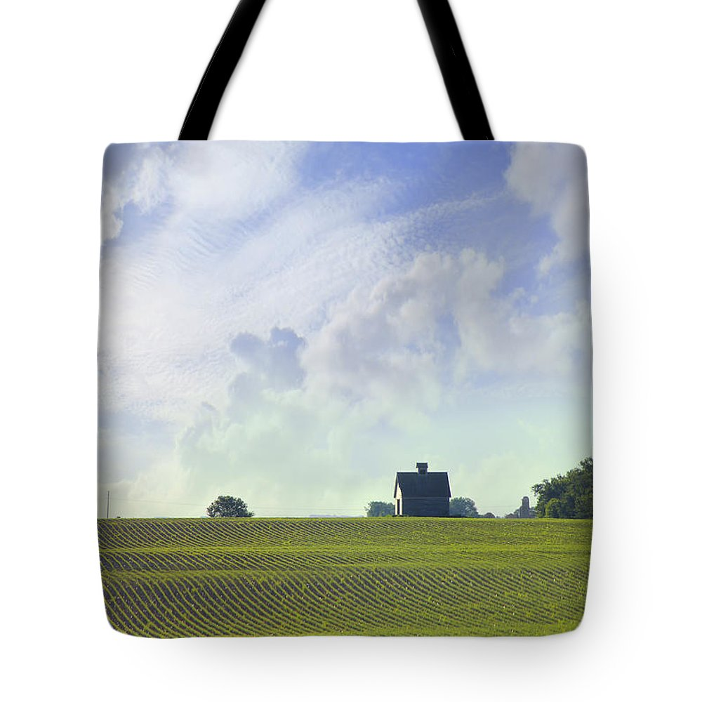 Farm & Barn Tote Bag featuring the photograph Barn On Top Of The Hill by Mike McGlothlen