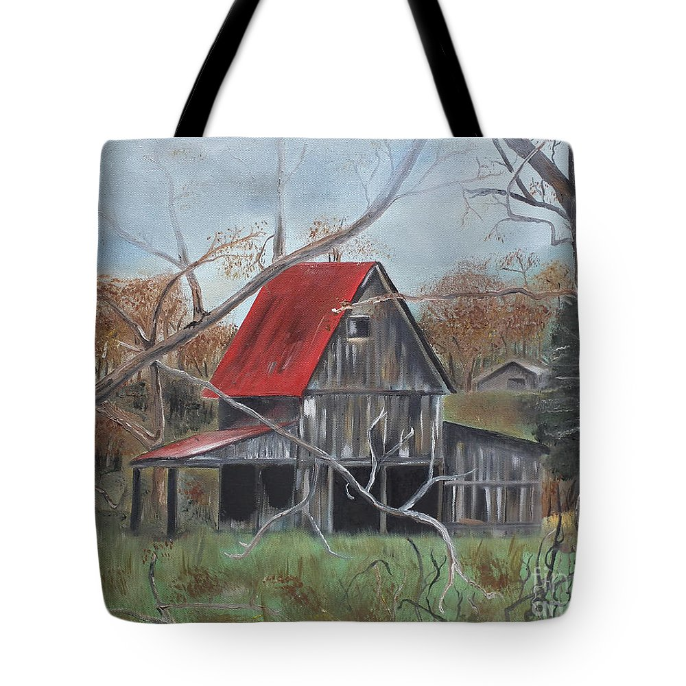 Barn Tote Bag featuring the painting Barn - Red Roof - Autumn by Jan Dappen