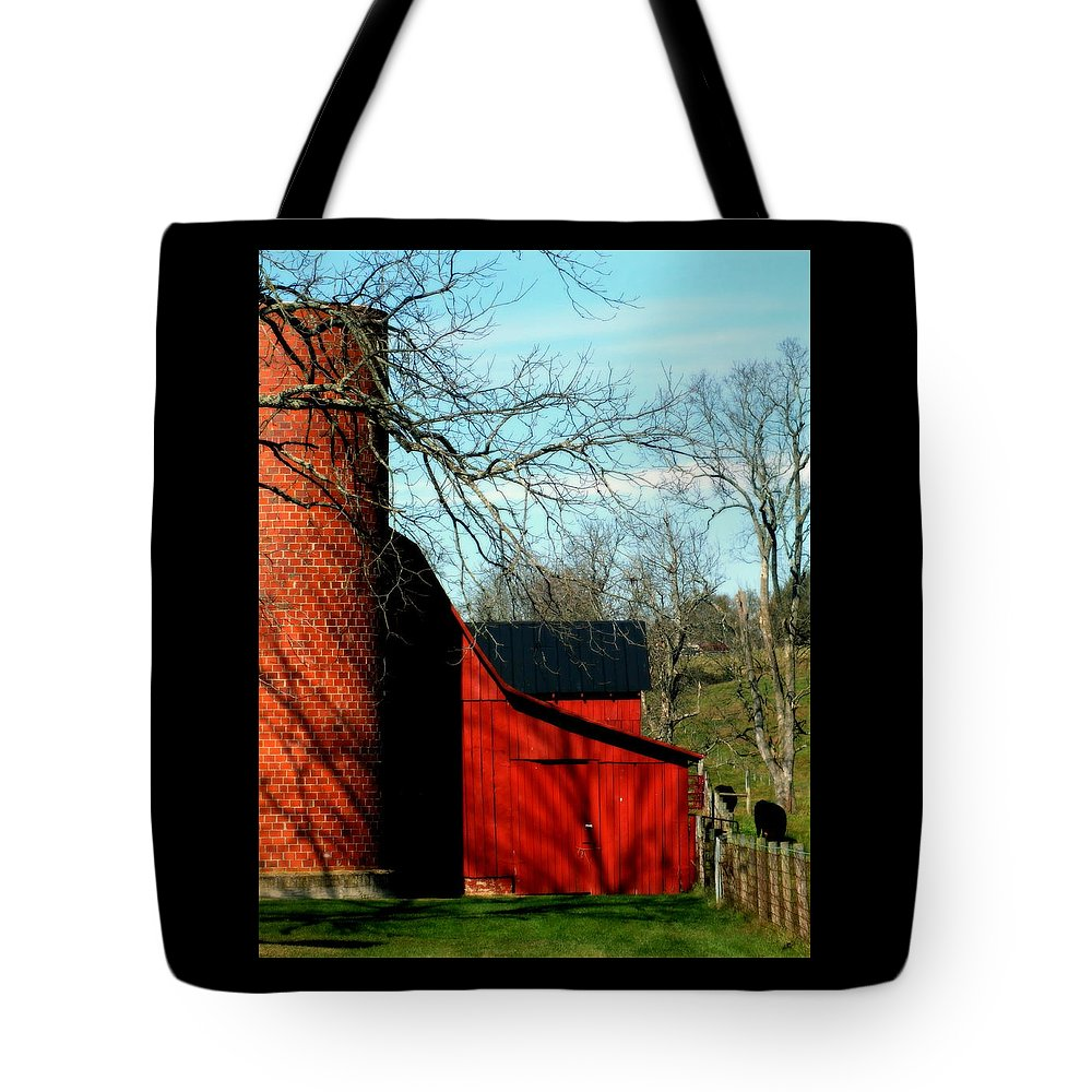 Barns Tote Bag featuring the photograph Barn Shadows by Karen Wiles