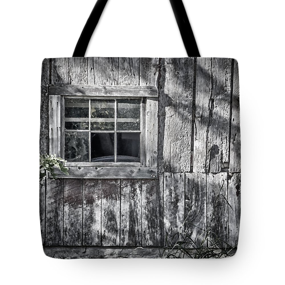 Abandoned Tote Bag featuring the photograph Barn Window by Joan Carroll