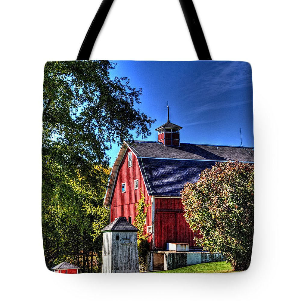 Barn Tote Bag featuring the photograph Barn With Out-sheds Brunner Family Farm by Roger Passman