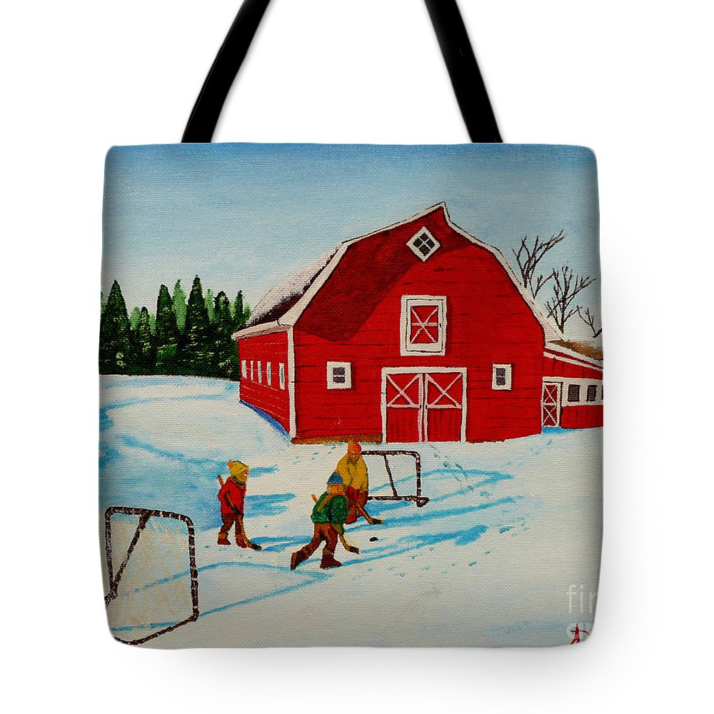 Hockey Tote Bag featuring the painting Barn Yard Hockey by Anthony Dunphy