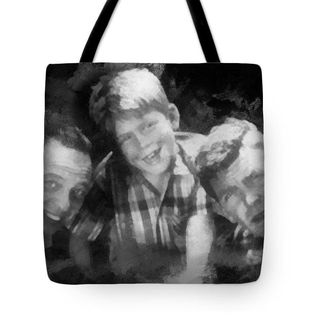 Barney Fife Tote Bag featuring the digital art Barney Opie And Andy by Paulette B Wright