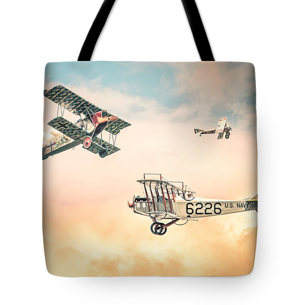 Barnstormers In The Golden Age Of Flight - Replica Fokker D Vll - Spad 7 -  Curtiss Jenny Jn-4h Tote Bag