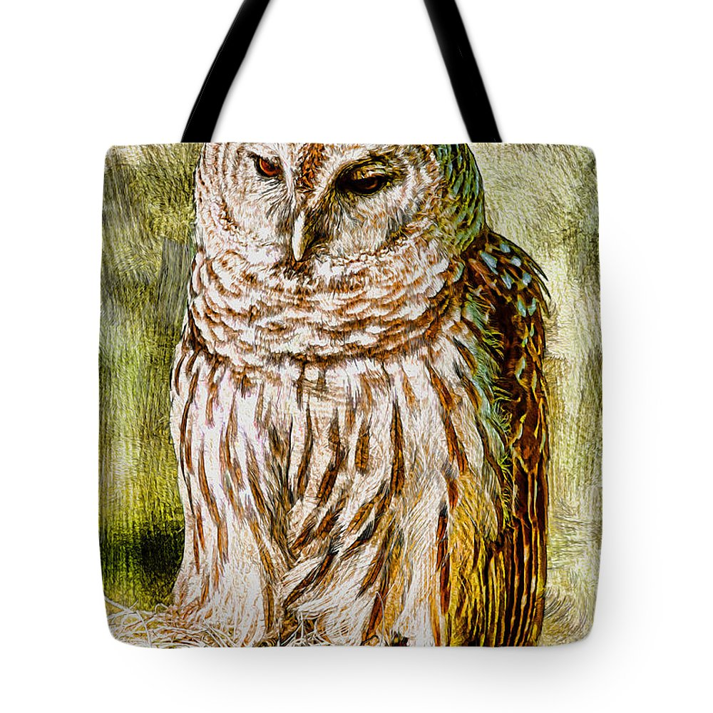 Owl Tote Bag featuring the photograph Barred Owl On Moss by Deborah Benoit