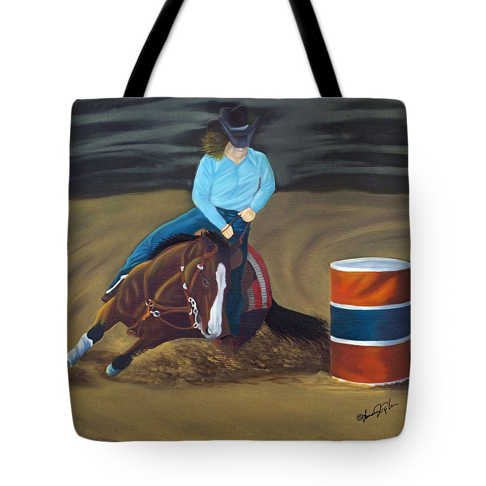 Animal Tote Bag featuring the painting Barrel Racer by Lana Tyler