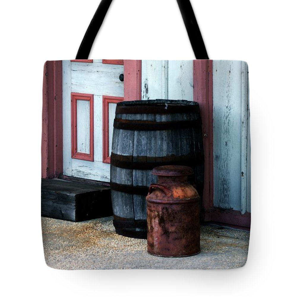 Stafford Twp Tote Bag featuring the photograph Barrels by Nance Larson