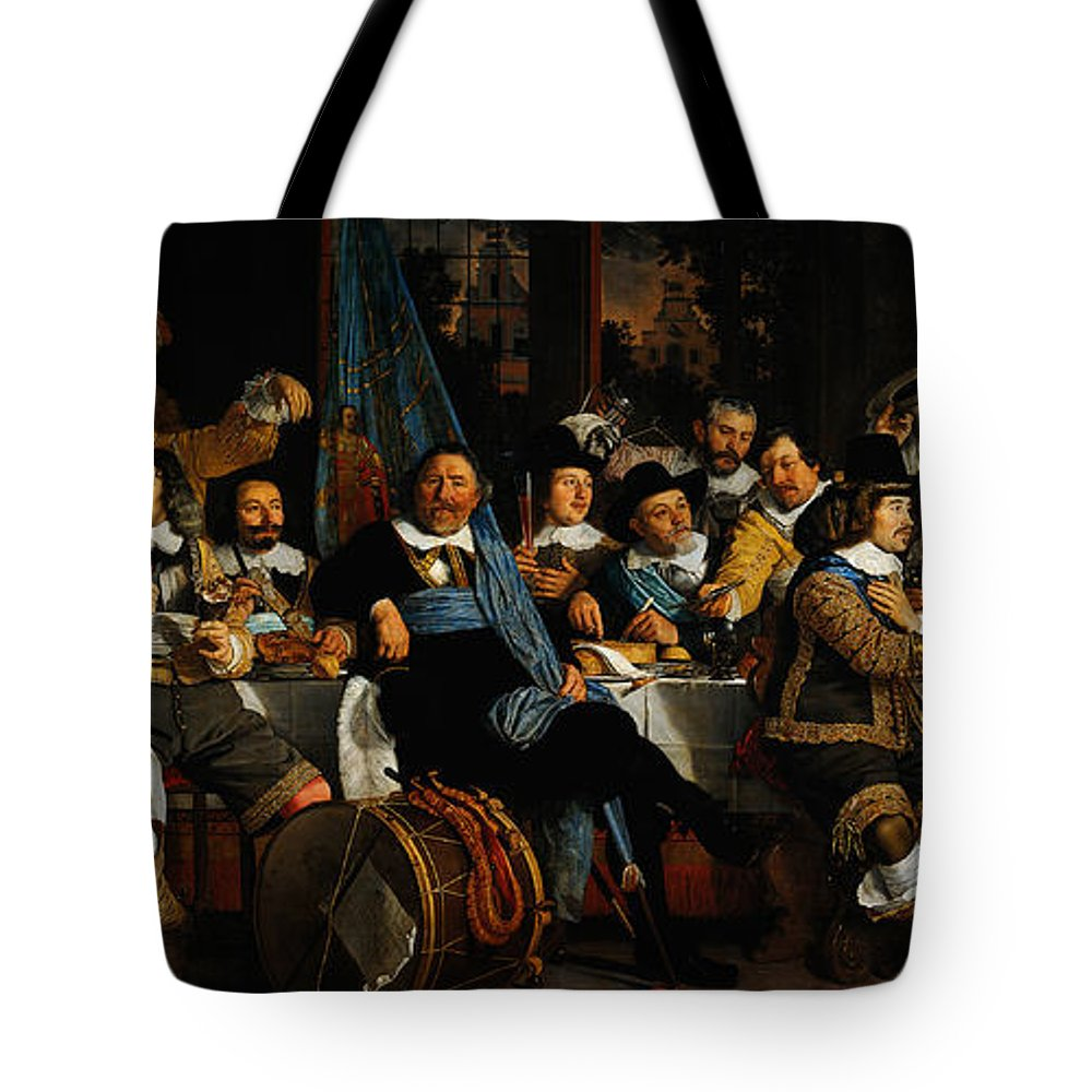 Bartholomeus Van Der Helst Banquet Of The Amsterdam Civic Guard In Celebration Of The Peace Of Munster Tote Bag featuring the painting Bartholomeus Van Der Helst Banquet Of The Amsterdam Civic Guard In Celebration Of The Peace Of Munst by MotionAge Designs