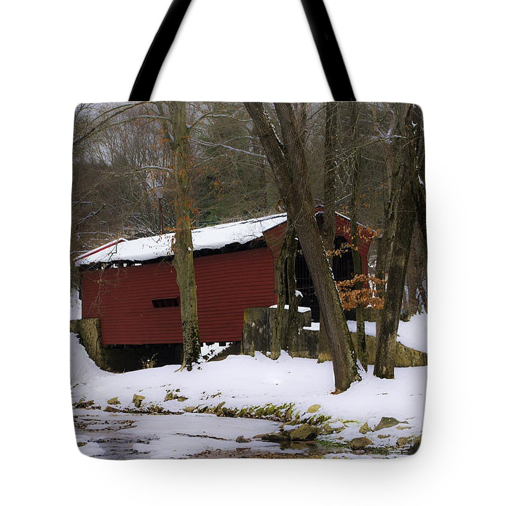 Bartram Tote Bag featuring the photograph Bartram Bridge - Newtown Square by Bill Cannon