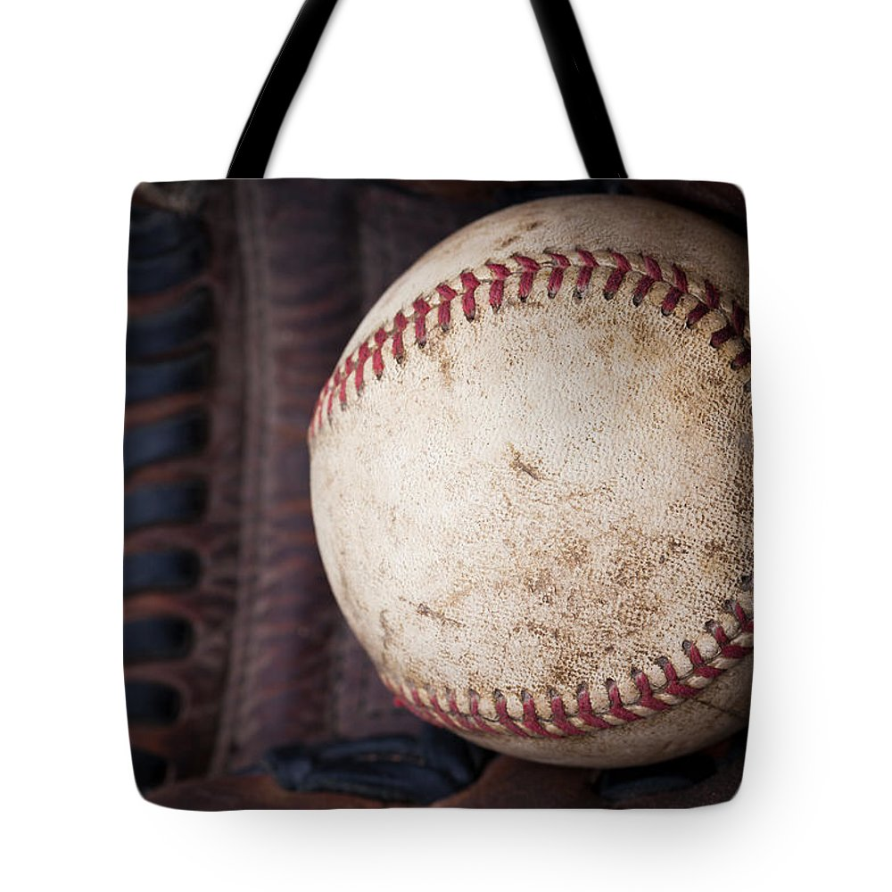 Baseball Tote Bag featuring the photograph Baseball And Glove by David Patterson