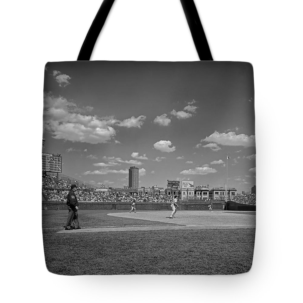 Wrigley Field Tote Bag featuring the photograph Baseball At Wrigley In The 1990s by Mountain Dreams