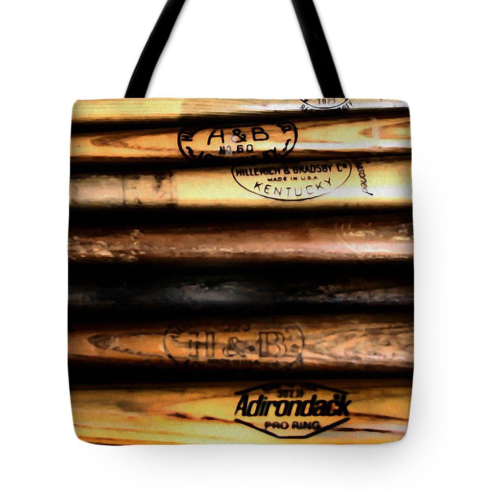 Baseball Tote Bag featuring the photograph Baseball Bats by Bill Cannon