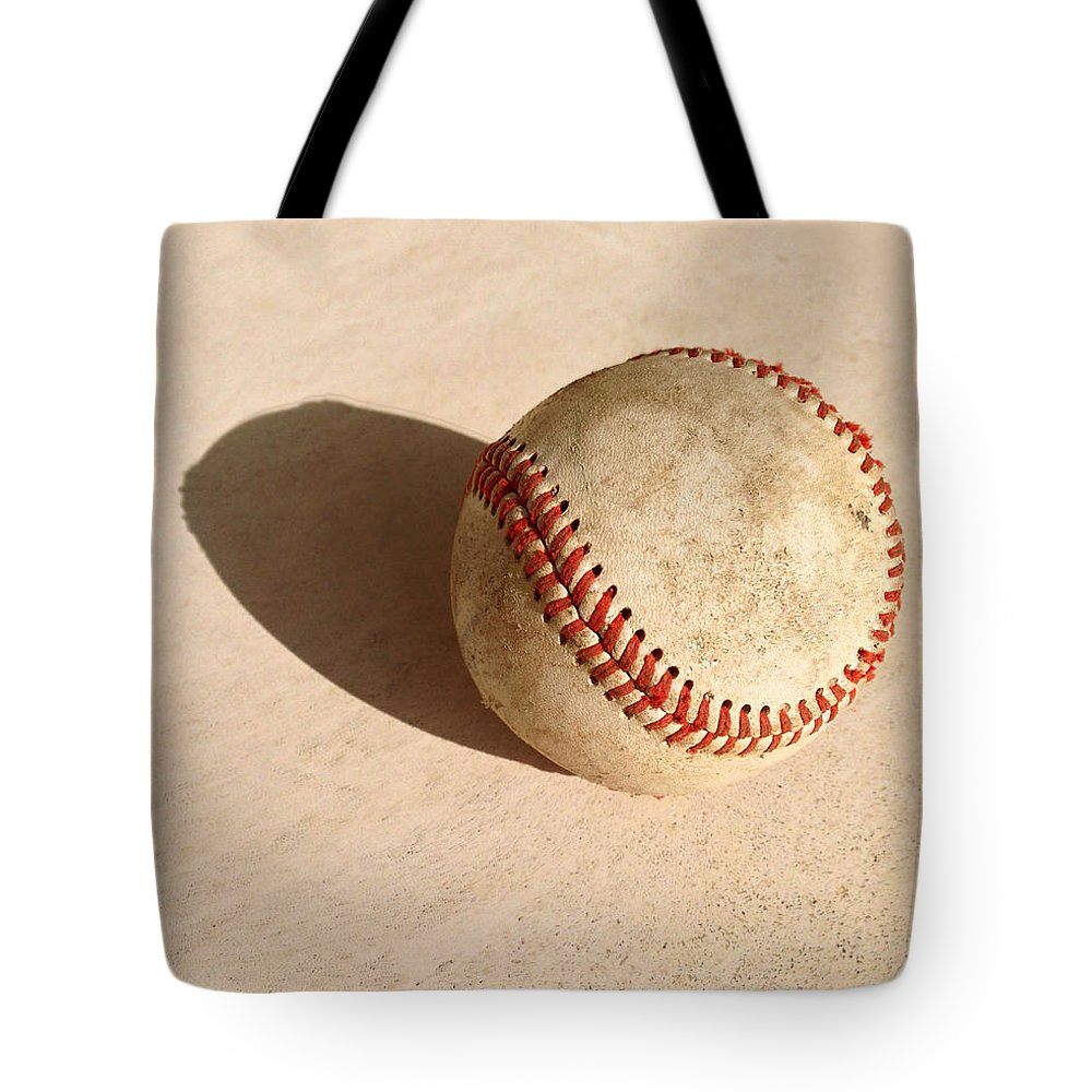 Ball Tote Bag featuring the photograph Baseball With Shadow by Art Block Collections