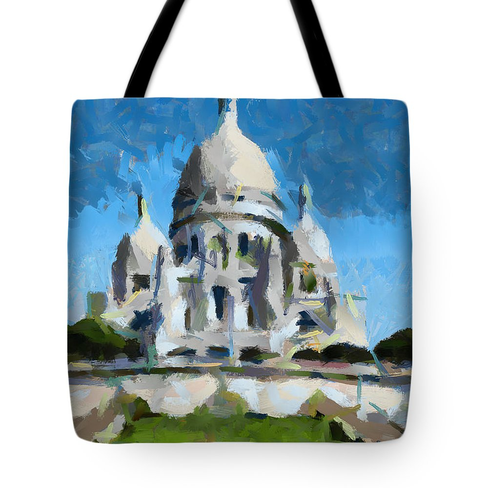 Cityscape Tote Bag featuring the painting Basilica Sacred Heart- Paris by Dragica Micki Fortuna