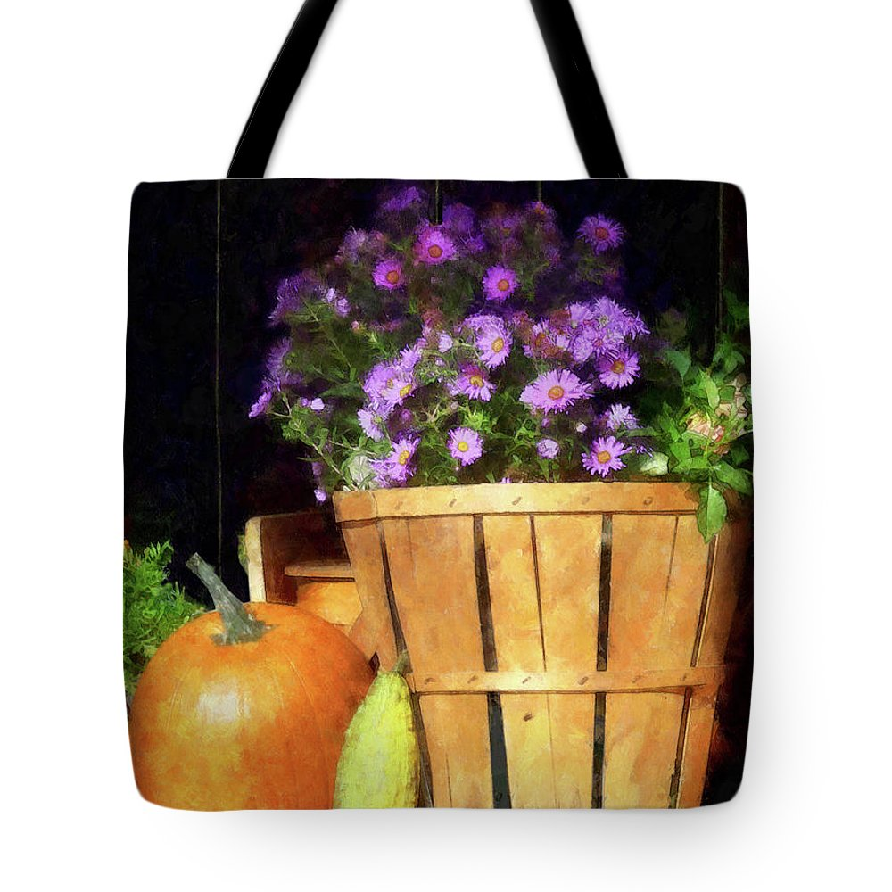 Autumn Tote Bag featuring the photograph Basket Of Asters With Pumpkin And Gourd by Susan Savad