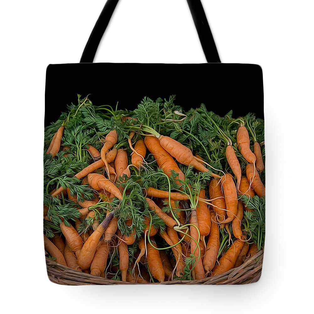 Basket Tote Bag featuring the photograph Basket Of Carrots by Michael Moriarty