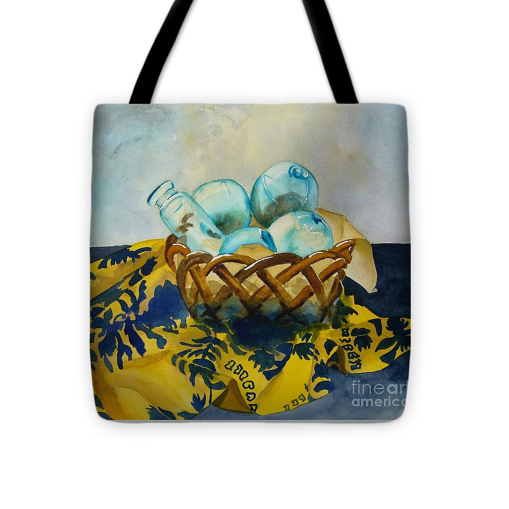 Hawaii Tote Bag featuring the painting Basket Of Floats by Sue Roach