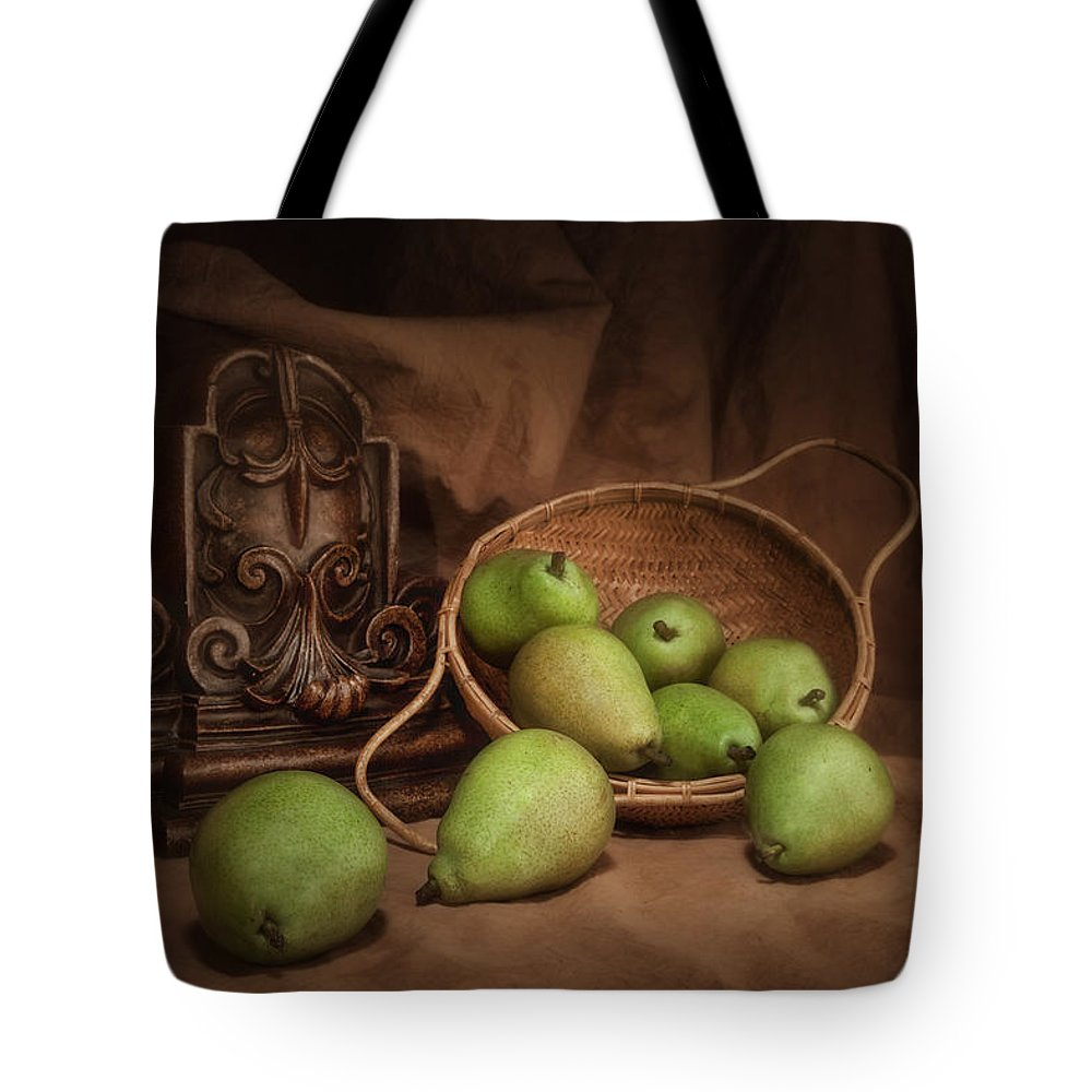 Accent Tote Bag featuring the photograph Basket Of Pears Still Life by Tom Mc Nemar