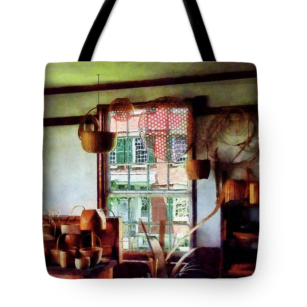 Basket Tote Bag featuring the photograph Basket Shop by Susan Savad