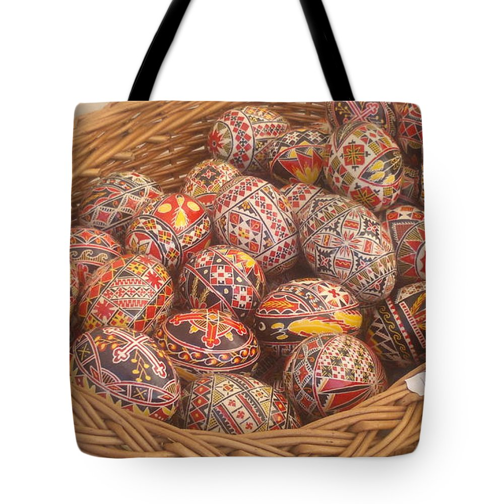 Easter Egg Tote Bag featuring the photograph Basket With Easter Eggs by Stefan Silvestru