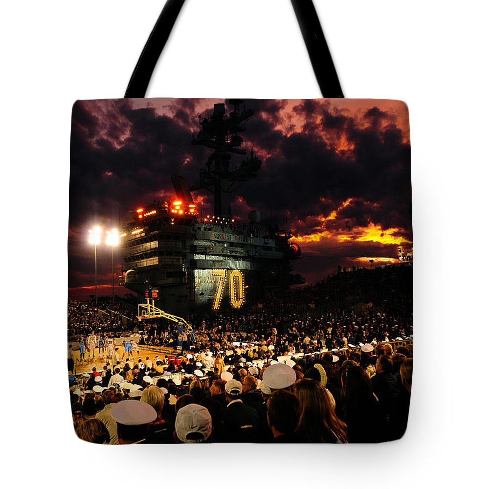 Uss Carl Vinson Tote Bag featuring the photograph Basketball On A Carrier by Mountain Dreams