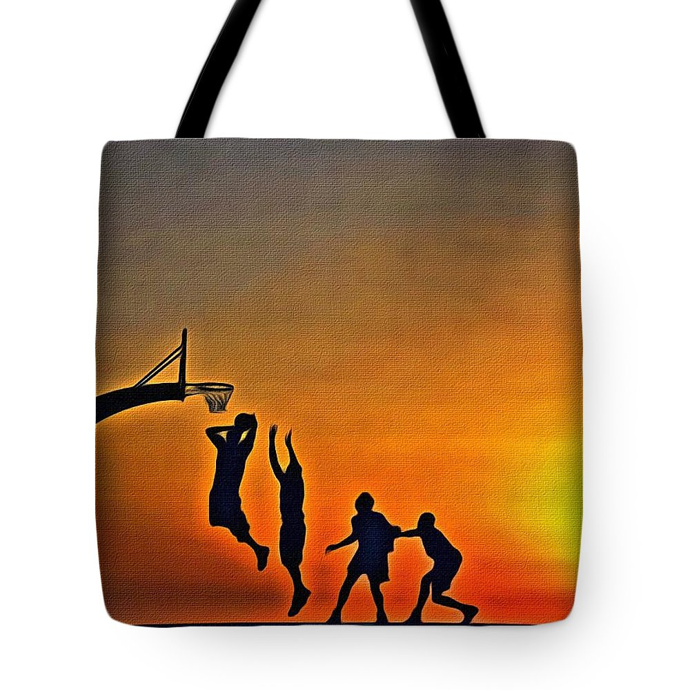 Sunrise Tote Bag featuring the painting Basketball Sunrise by Florian Rodarte