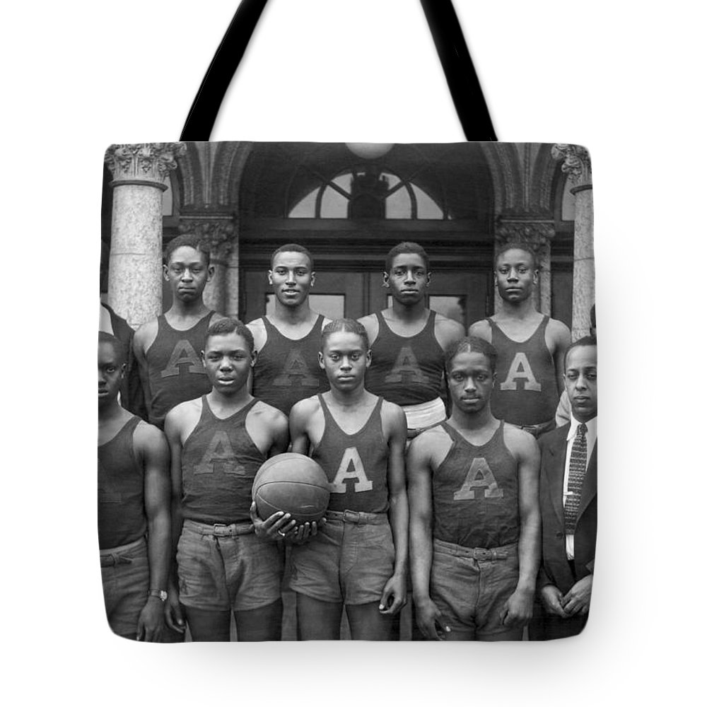 1920s Tote Bag featuring the photograph Basketball Team Portrait by Underwood Archives