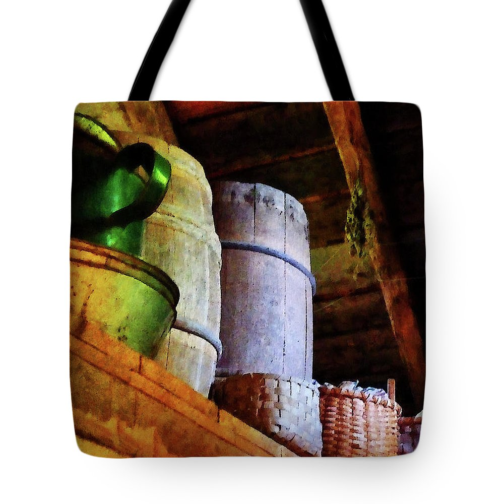 Americana Tote Bag featuring the photograph Baskets And Barrels In Attic by Susan Savad