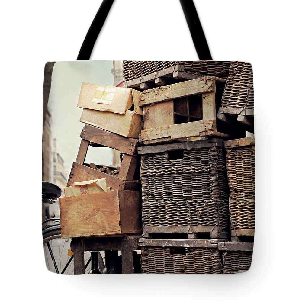 Outdoors Tote Bag featuring the photograph Baskets In Paris by Sharon Lapkin