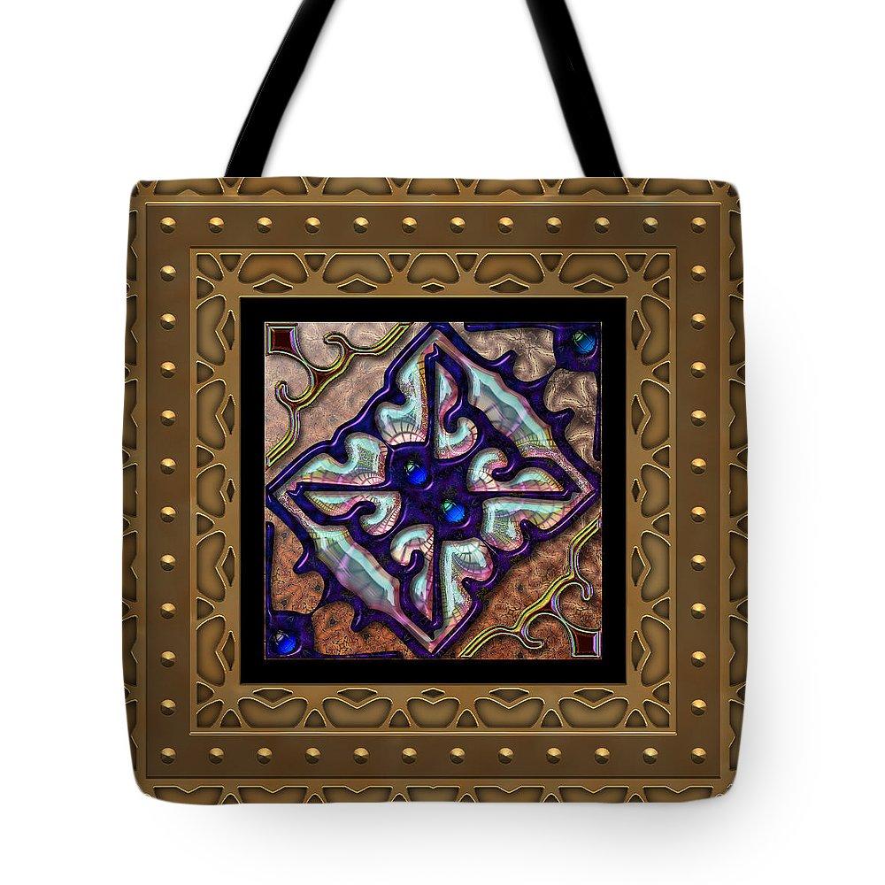 Blue Tote Bag featuring the digital art Basketweave Seven by Ann Stretton