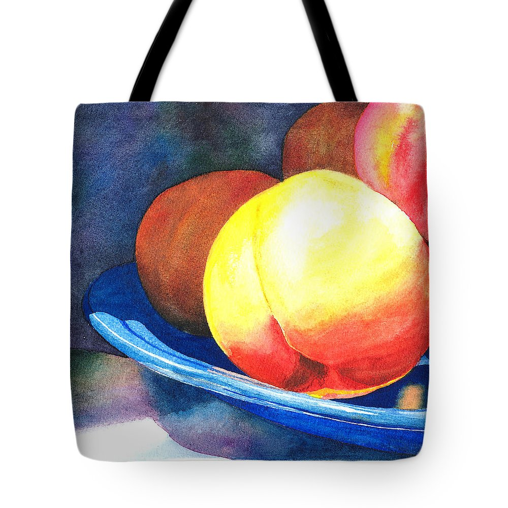 Peaches Tote Bag featuring the painting Basking by Charne Gooch