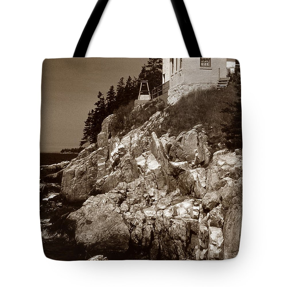 Bass Harbor Tote Bag featuring the photograph Bass Harbor Head Lighthouse by Skip Willits