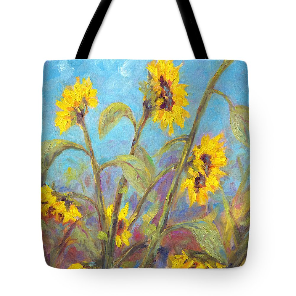 Sunflower Tote Bag featuring the painting Bathing Beauties by Jeff Pittman