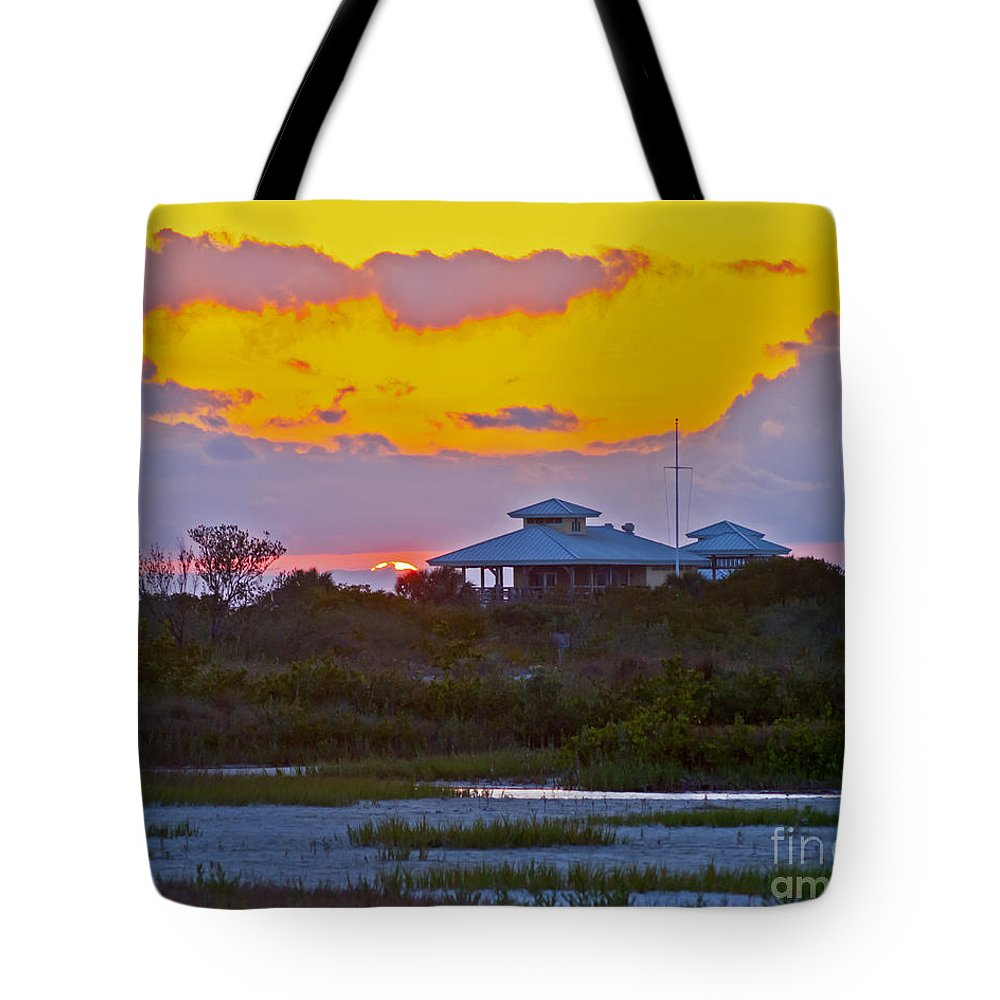 Sunset Tote Bag featuring the photograph Bathouse Sunset by Stephen Whalen