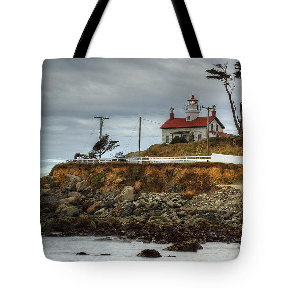 Pacific Tote Bag featuring the photograph Battery Point Lighthouse 1 B by John Brueske